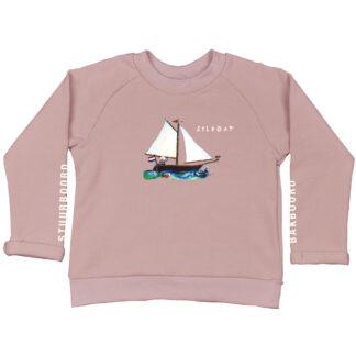 zacht roze sweater met zeilboot voor kinderen. Van biologisch katoen en GOTS gecertificeerd.