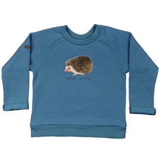 Jeansblauwe sweater met egeltje van GOTS gecertificeerd katoen. /voor kinderen van 2-6 jaar