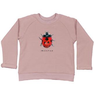 Oud roze sweater met lieveheersbeestje. Voor peuters en kleuters. gemaakt van biologisch katoen