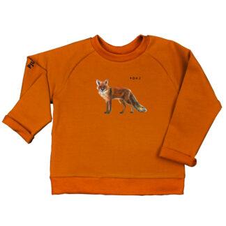 Cognac sweater met vos. Voor kinderen van 2 tot 6 jaar. Gemaakt van biologisch katoen.