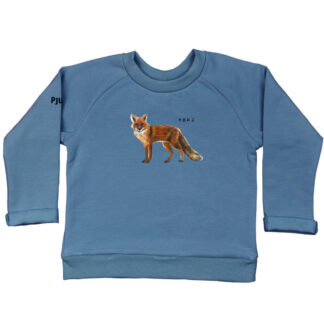 Jeans sweater met vos. Voor kinderen in 86/92, 98/104, 110/116 en 122/128