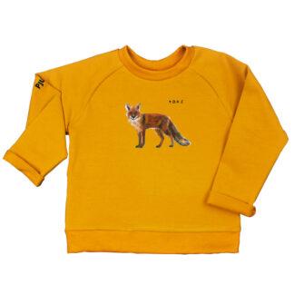 Oker sweater met vos voor kinderen. Gemaakt van GOTS katoen.