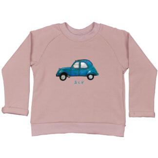 Roze kindersweater met 2CV. GOTS gecertificeerd biologisch katoen en een blauwe 2CV illustratie.