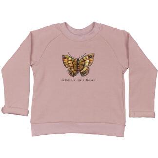 oudroze kindersweater met vlinder. Gemaakt van boplogisch katoen. Eerlijk, hip en duurzaam.