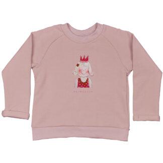 Roze kindersweater met prinsesje van zachte organic stof. heerlijk zacht en in de maten 86/92, 98/104, 110/116 en 122/128